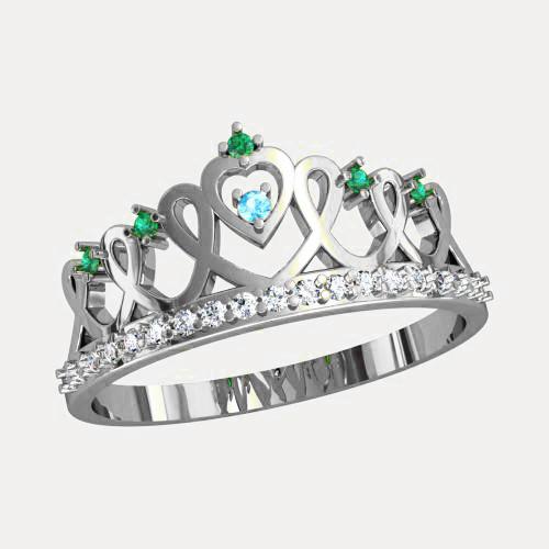 Кольцо  женское серебряное Корона К 1144