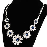 Украшение Серые металлические цветы, синий камень