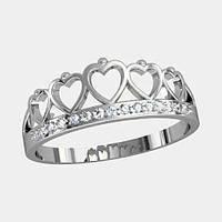Кольцо  женское серебряное Корона К 1145