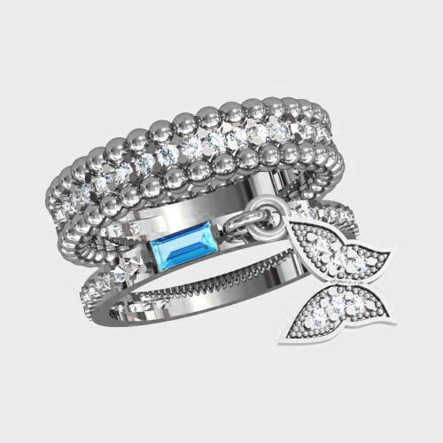 Двойное серебряное Кольцо  женское Бабочка К1170