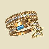Двойное серебряное Кольцо  женское Бабочка К1170, фото 2