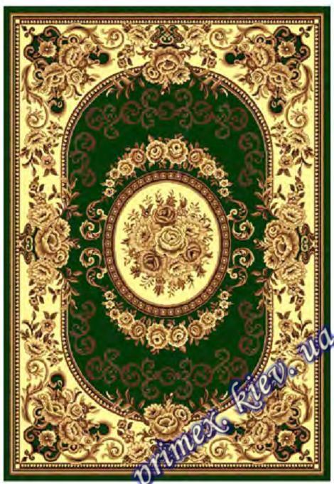 """Синтетический прямоугольный ковер эконом-сегмента Gold Karat """"Римские розы"""", цвет зеленый"""