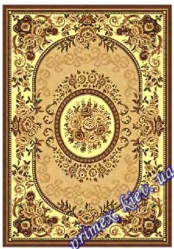 """Синтетический прямоугольный ковер эконом-сегмента Gold Karat """"Римские розы"""", цвет бежевый"""