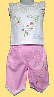 Блуза с вышивкой и бриджи розовые, с кружевом, детский летний костюм на девочку р.86, 92 см.
