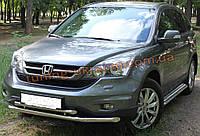 Защита переднего бампера труба двойная D60-42 на Honda CRV 2006-2012