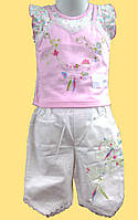 Блуза с вышивкой и бриджи белые, с кружевом, детский летний костюм для девочки р.80, 92 см.