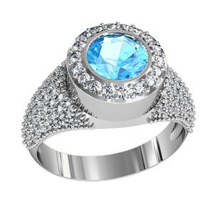 Кольцо  женское серебряное Море 111090