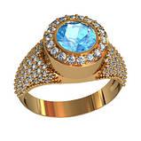 Кольцо  женское серебряное Море 111090, фото 2
