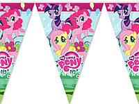 """Флажки гирлянды  """" Маленькие пони """". Купить карнавальные бумажные гирлянды"""