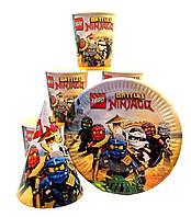 "Набор ""Лего Ниндзяго"" колпачок, тарелочка, стаканчик на одного ребенка"