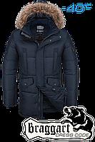 Куртка зимняя мужская на меху удлиненная Braggart Dress Code -  4505A темно-синяя