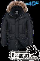 Куртка зимняя мужская на меху удлиненная Braggart Dress Code - 4505B черная