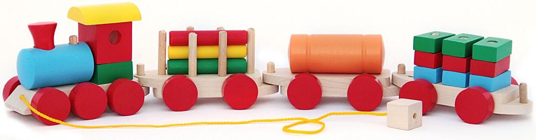 Деревянная игрушка Komarovtoys Паровоз и 3 вагона (P203)