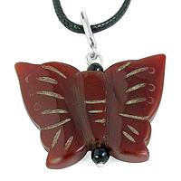 Сердолик, бабочка серебро, кулон