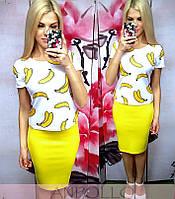 Костюм блуза с принтом+однотонная юбка-карандаш