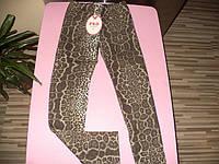 Трикотажные утепленные леггинсы с леопардовым принтом  для девочек 4-14 лет
