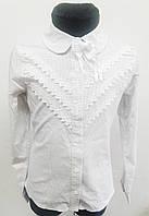 Нарядная школьная коттоновая блузка для девочки