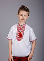 Вышитая рубашка на мальчика с красным орнаментом и коротким рукавом