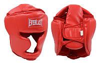 Шлем боксерский с полной защитой PU ELAST BO-4299-R (красный, р-р S-L)