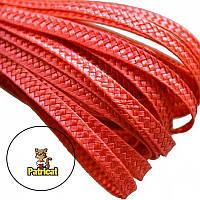 Тесьма плетеная соломка Красная 6 мм 1 м