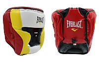 Шлем боксерский с полной защитой PU ELAST MA-010-PU ((красный-салат-бел, красный-желт-бел, р-р L-XL)