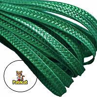 Тесьма плетеная соломка Зеленый изумрудный 6 мм 10 м/уп, фото 1