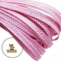 Тесьма плетеная соломка Розовая 6 мм 10 м/уп, фото 1