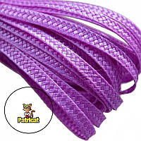 Тесьма плетеная соломка Сиреневая 6 мм 10 м/уп, фото 1
