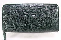 Кошелек на молнии из кожи крокодила темно-зеленый, фото 1
