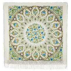"""Платок шерстяной с шелковой бахромой """"Снежинки и цветы"""", вид 2, 146x146 см"""