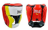 Шлем боксерский с полной защитой Кожа ELAST MA-010-L (красн-салат-белый, красн-желт-белый, р-р L-XL)