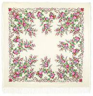 """Платок шерстяной с просновками и шелковой бахромой """" Утреннее сияние"""", вид 1, 146x146 см"""