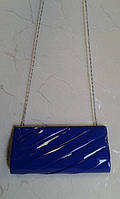 Женский клатч синий лаковый красивый (Турция)