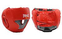 Шлем боксерский с полной защитой Кожа ELAST ME-0147-L(R) (красный, р-р регул.)