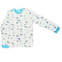 Детская кофта  (Молочный с голубым, домик)