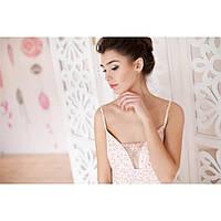 Сорочка на бретелях розовый цветок