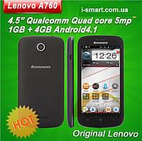 "Lenovo A760 phone quad core mobile phone 4.5"" 854*480 screen 1GB RAM 4GB Android 4.1 5.0mp GPS (черный), фото 1"