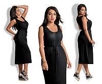 Платье вискозное миди Черное БАТАЛ