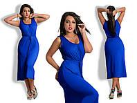 Платье вискозное миди Синее БАТАЛ