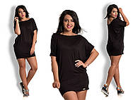 Платье туника вискозная Черная