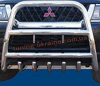 Защита переднего бампера кенгурятник высокий без надписи (нерж.) D70 на Mitsubishi Pagero Vagon 3 2000-2006