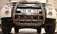 Защита переднего бампера кенгурятник высокий с надписью (нерж.) D60 на Mitsubishi Pagero Vagon 3 2000-2006