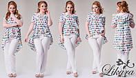 Женский костюм Романтик двойка кофта свободного кроя с капюшоном и однотонными брючками с карманами 404 ИС