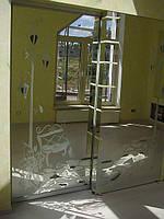 Зеркальная межкомнатная дверь с декоративной панелью