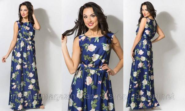 Платье женское в пол +пояс шелковый в комплекте