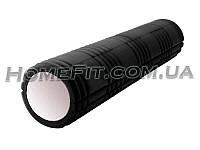 Массажный валик (роллер) Grid Roller 61 см для спины, фитнеса, пилатеса, кроссфита Черный