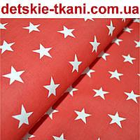 Бязь с густыми звёздами на красном (№118а), плотность 125 г/кв.м., фото 1