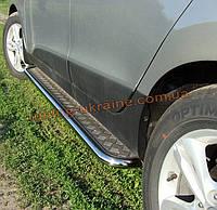 Боковые пороги  труба c листом (алюминиевым) D42 на Hyundai Santa Fe ix45 2013+