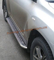 Боковые пороги  труба c листом (нержавеющем) D42 на Hyundai Santa Fe ix45 2013+