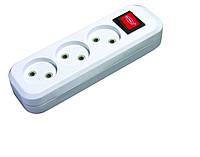 Колодка (кассета) для удлинителя 3 гнезда с выключателем SVITTEX 10А 250В 2200 Вт, фото 1